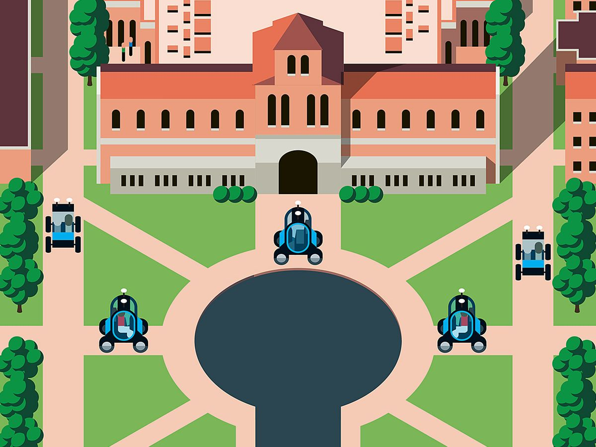 Illustration of cars driving around a campus.