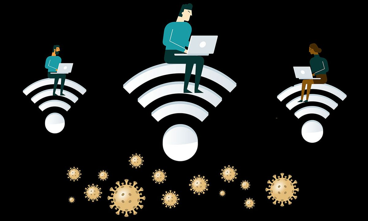 Illustration of people working on computers with icons of COVID-19 virus