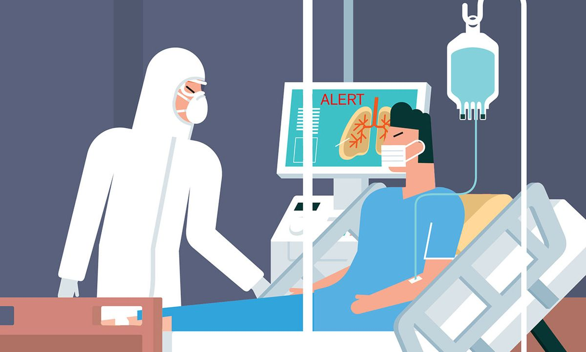 Illustration of AI helping a doctor predict an alert for a COVID19 patient.