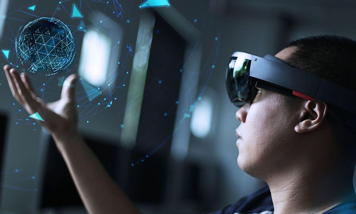Photo-illustration of a man touching virtual reality objects