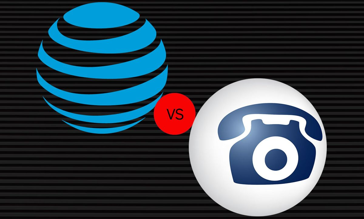 AT&T and FreeConferenceCall.com logos with a ball in the middle saying vs.