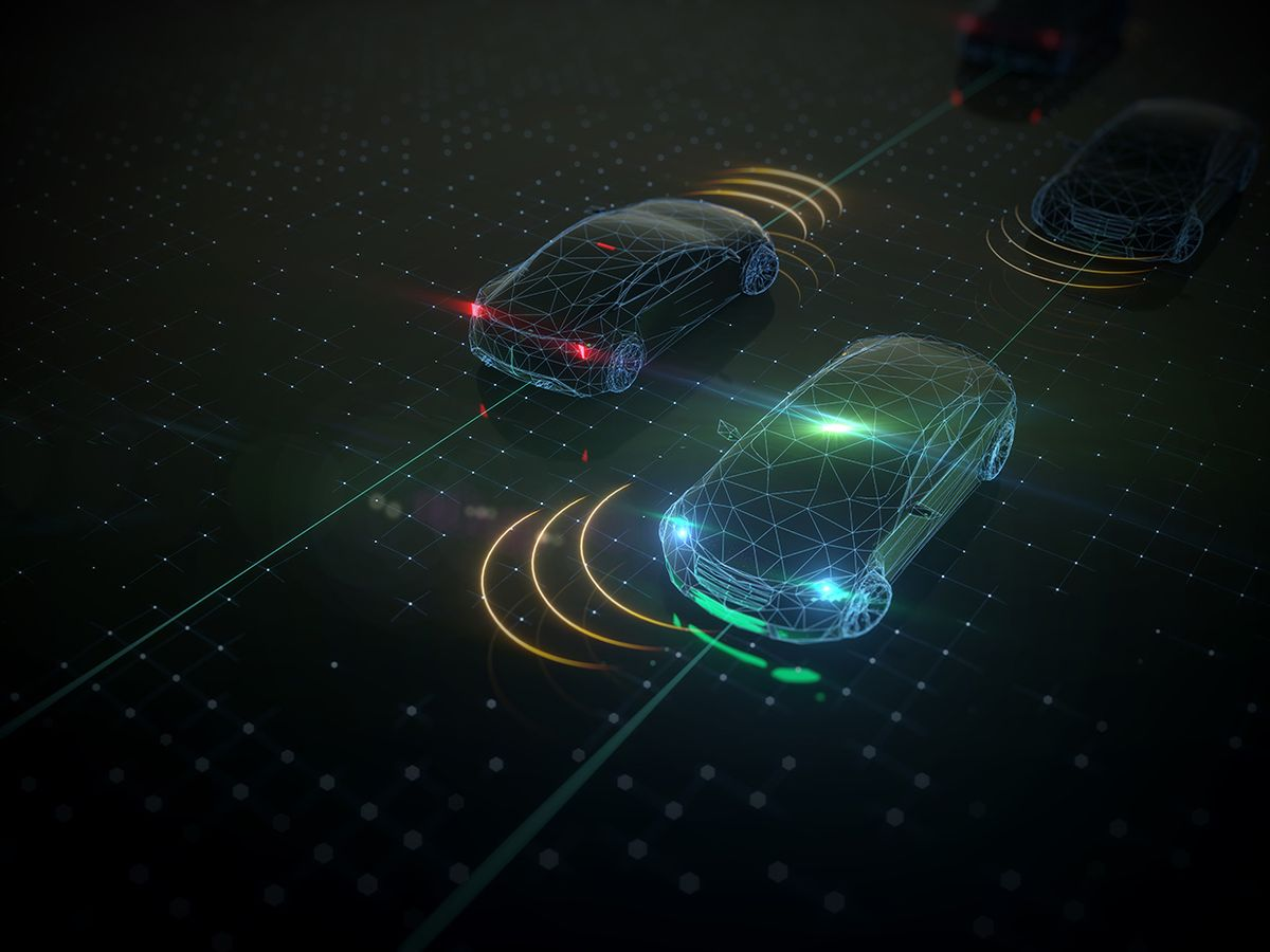 Illustration of AI cars moving in traffic.