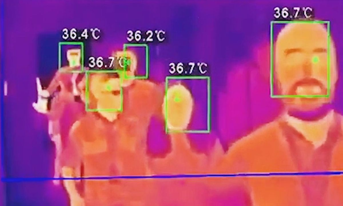 Altoros image of a group of people and their temperatures.
