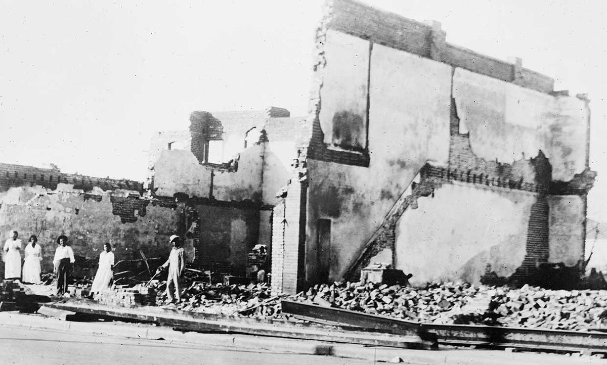 The Woods Building following the Tulsa Massacre in 1921.
