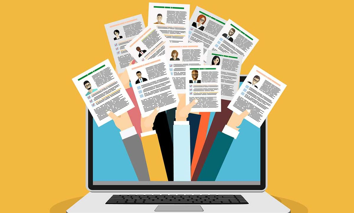 Illustration of many hands holding resumes, coming out of a computer
