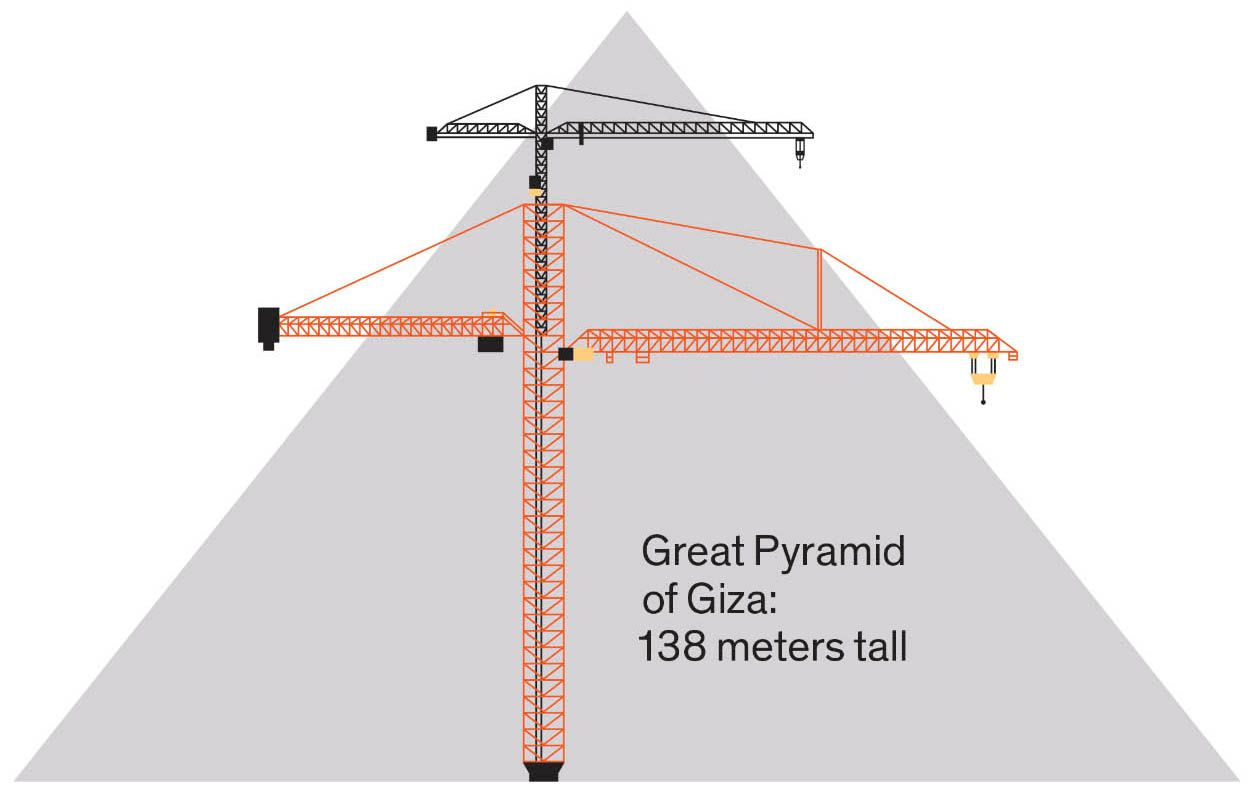 Illustration of a crane and a pyramid.