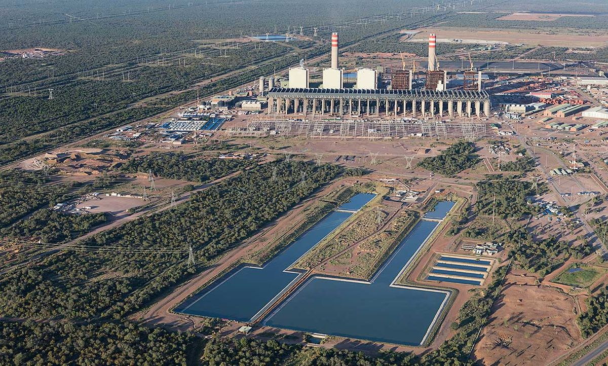 arial shot of the contentious Medupi power station in South Africa.