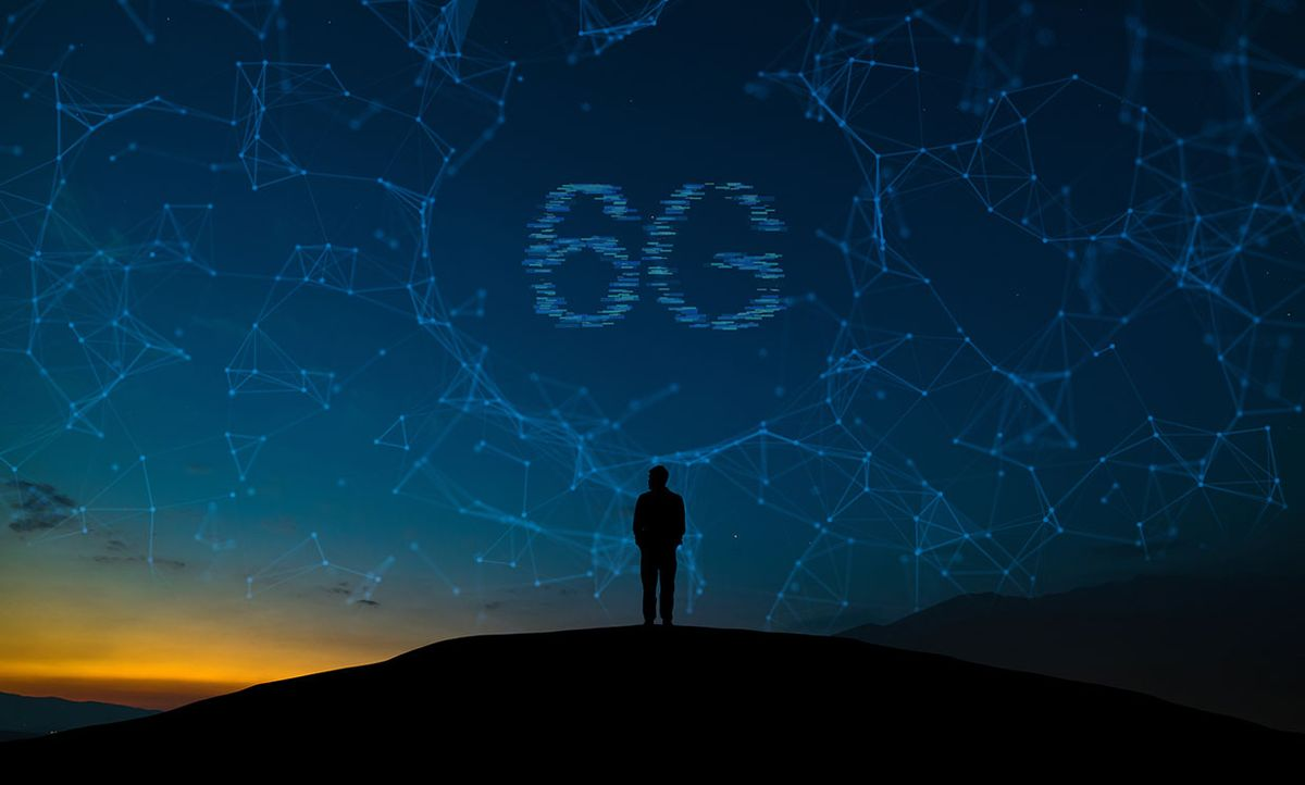 A person standing on a mountain dreaming of a 6G network.