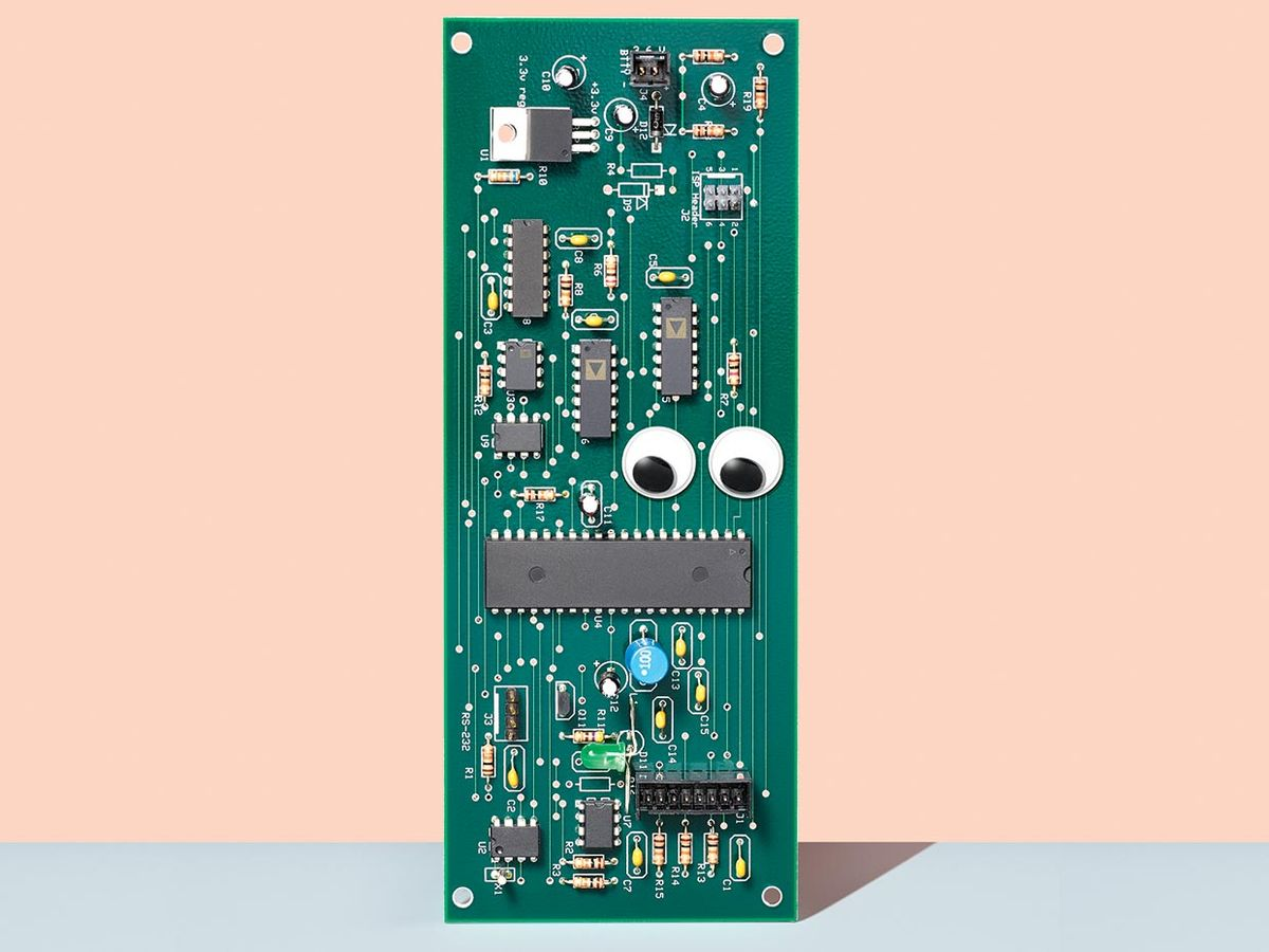 Image of a circuit board with googly eyes on it.