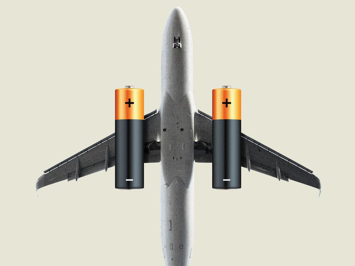 A jet airliner with batteries for engines.