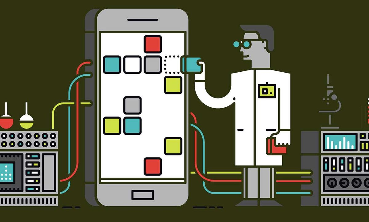 Illustration of a scientist with machines hooked up to a phone, examining apps