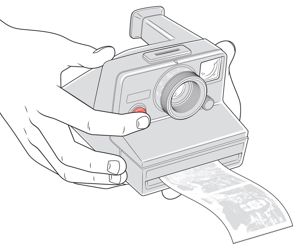 Illustration of a hands holding a Polaroid camera.