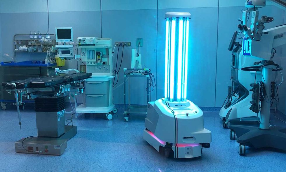UVD Robot uses lidar to navigate autonomously. Each bot carries an array of powerful short-wavelength ultraviolet-C lights that destroy the genetic material of viruses and other pathogens after a few minutes of exposure.