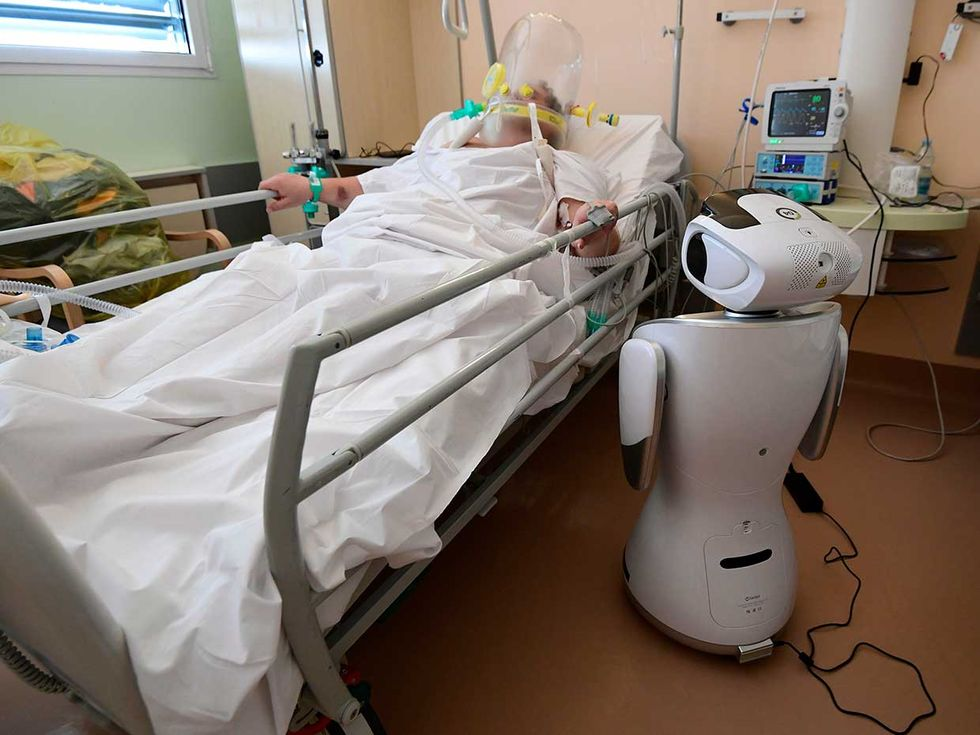 Nurses and doctors at Circolo Hospital in Varese, in northern Italyu2014the countryu2019s hardest-hit regionu2014use robots as their avatars, enabling them to check on their patients around the clock while minimizing exposure and conserving protective equipment.