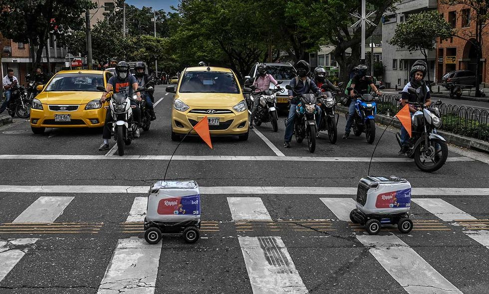 In Medellu00edn, Colombia, a startup called Rappi deployed a fleet of robots, built by Kiwibot, to deliver takeout to people in lockdown