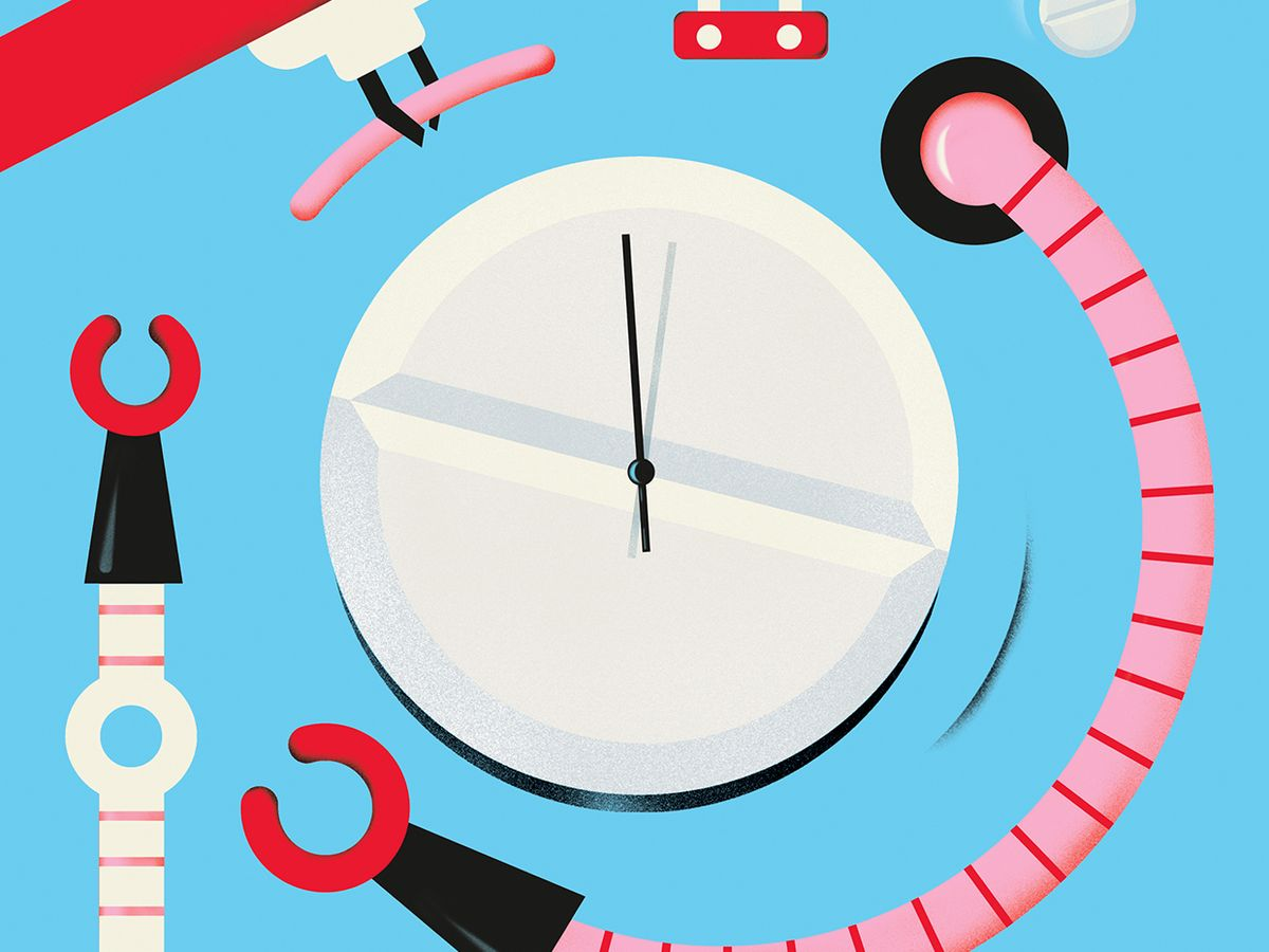 Illustration of robot arms and a pill that is also a clock.