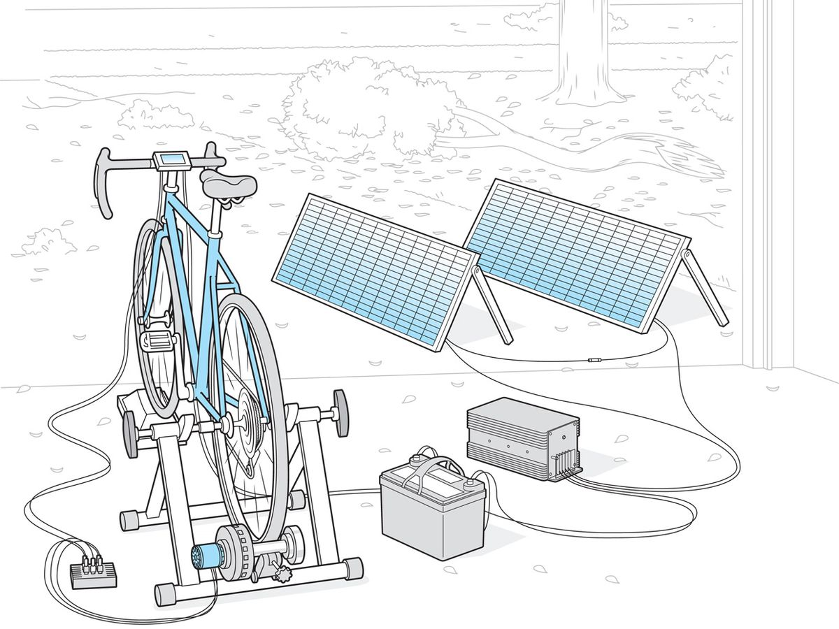 Image of a bicycle, solar panel, and battery set up.