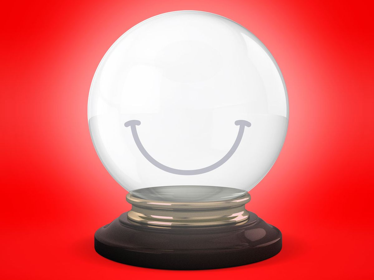 Photo illustration of the crystal ball with a smile on it.