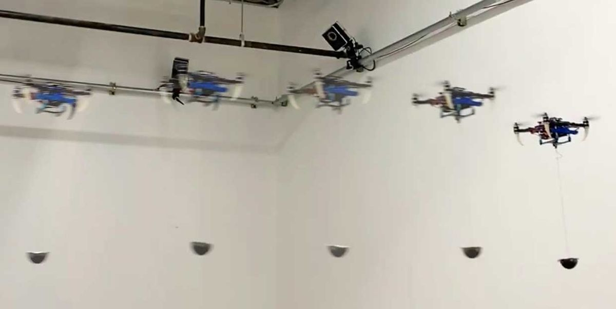 Screen stills showing the movement of the drone and cargo