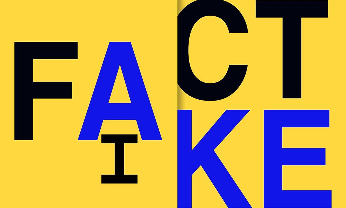 The words Fact, Fake and AI intertwined