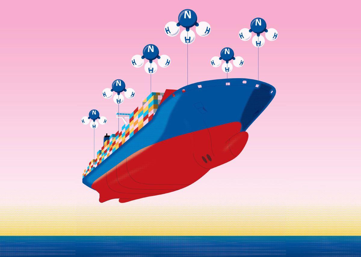 Illustration of a ship held aloft by ammonia balloons