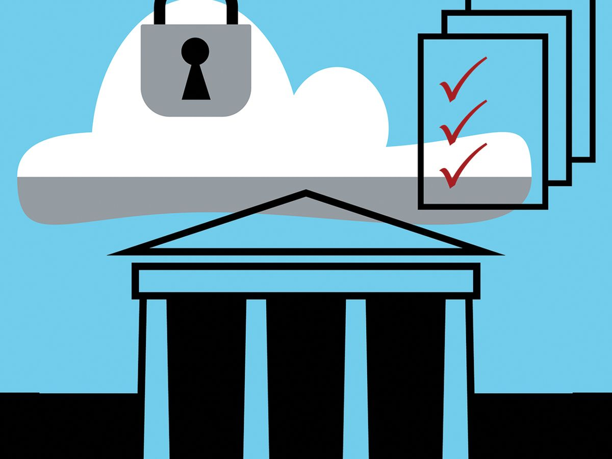 Illustration of a government building, a lock and papers with check marks.