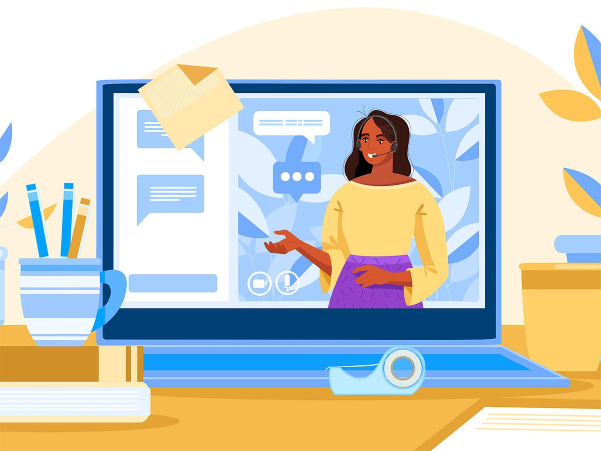 Illustration of woman talking on a laptop.