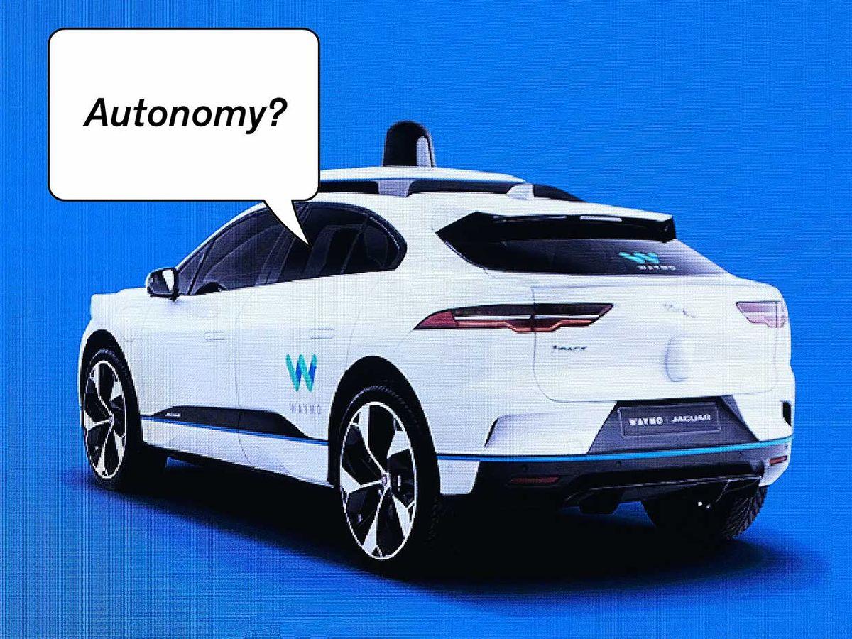 Photograph of a Waymo car on a screen. A speech bubble says Autonomy?