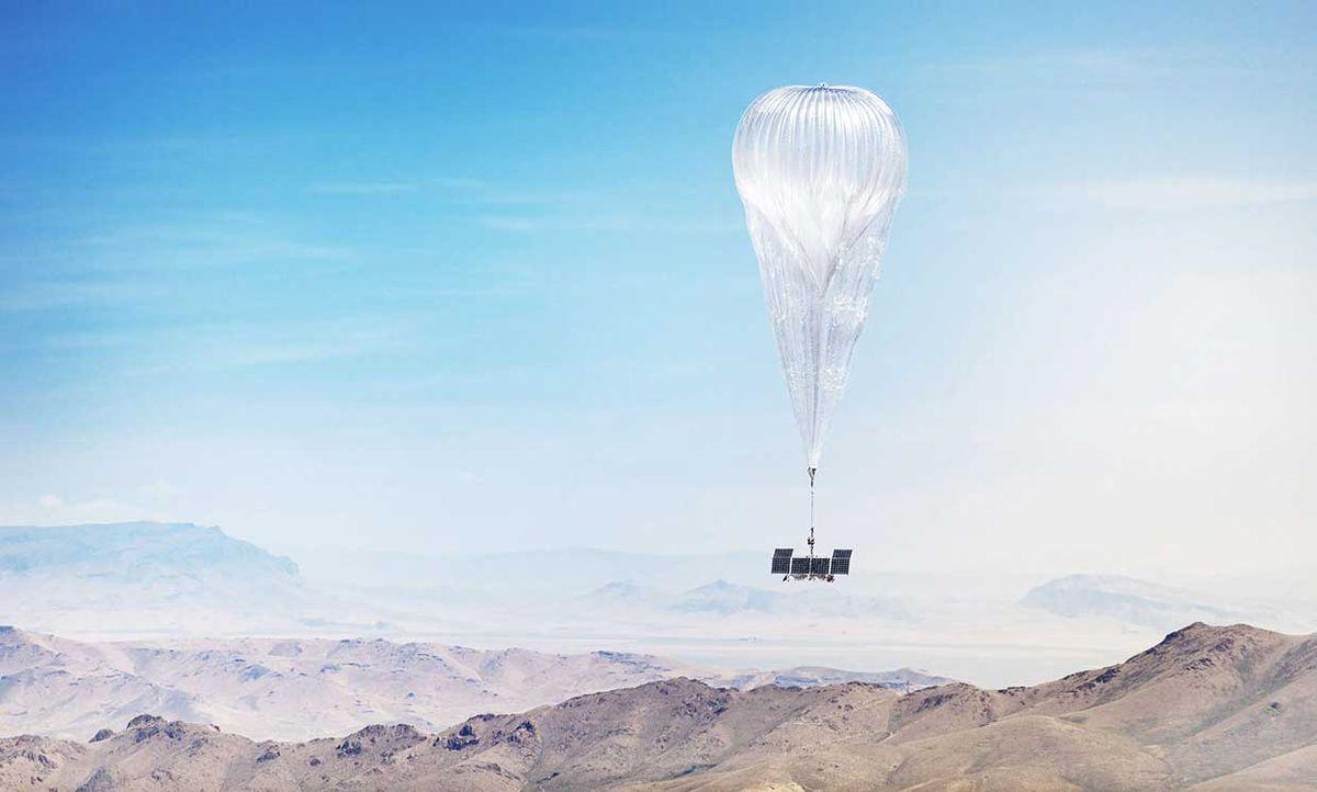 A Loon balloon floats over Nevada