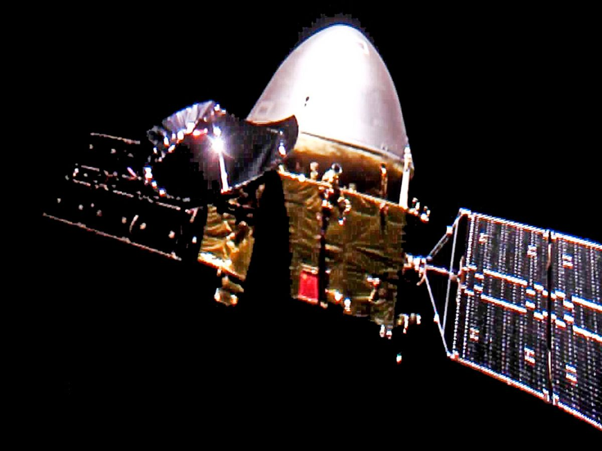 This China National Space Administration image, released on Wednesday, Dec. 16, 2020 shows the Tianwen-1 probe en route to Mars.