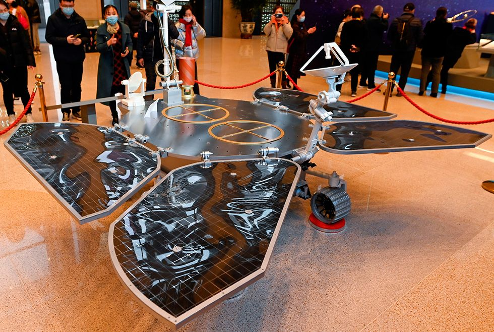 A model of the Tianwen-1 Mars rover is displayed during an exhibition at the National Museum of China in Beijing on March 4, 2021.