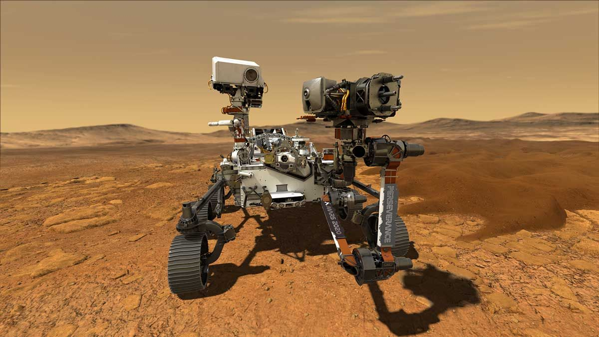An illustration of how NASA's Perseverance rover will look after it lands on Mars.