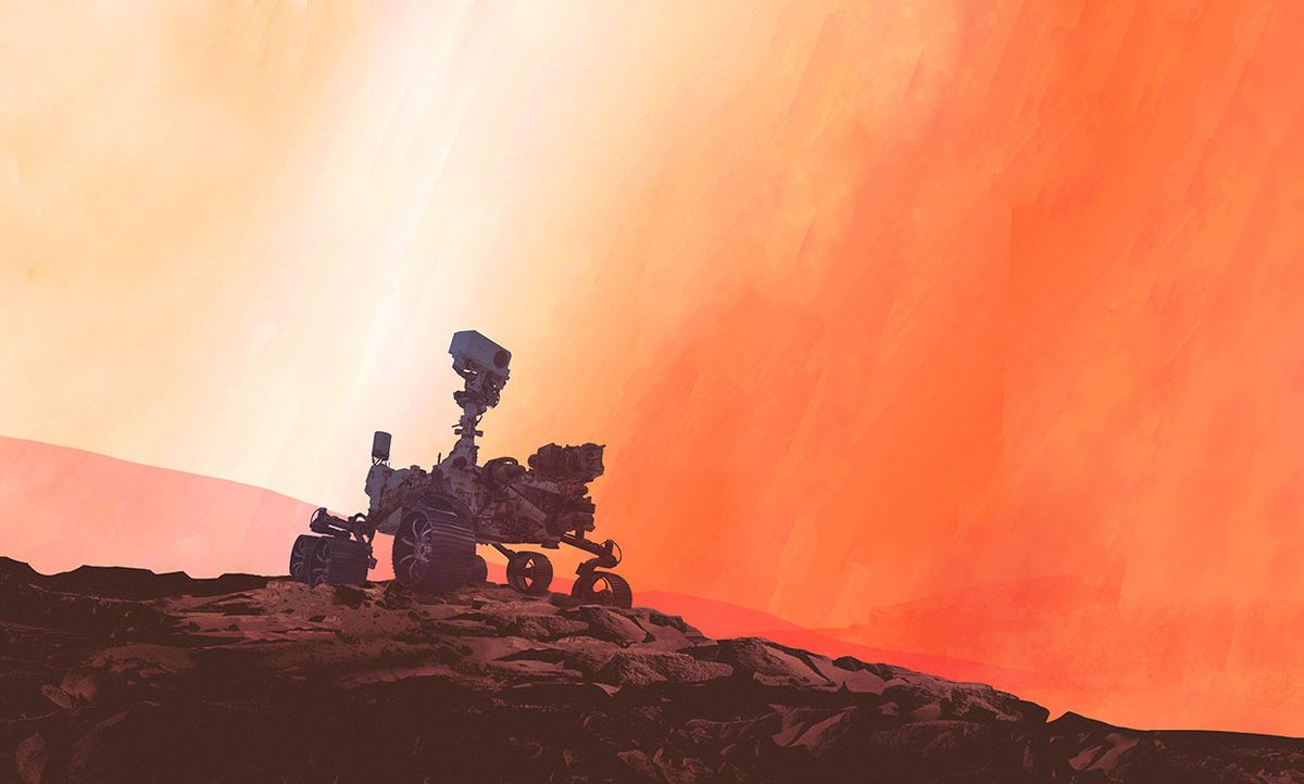 Illustration of NASA's new rover that uses AI to navigate the Martian surface three times as quickly.