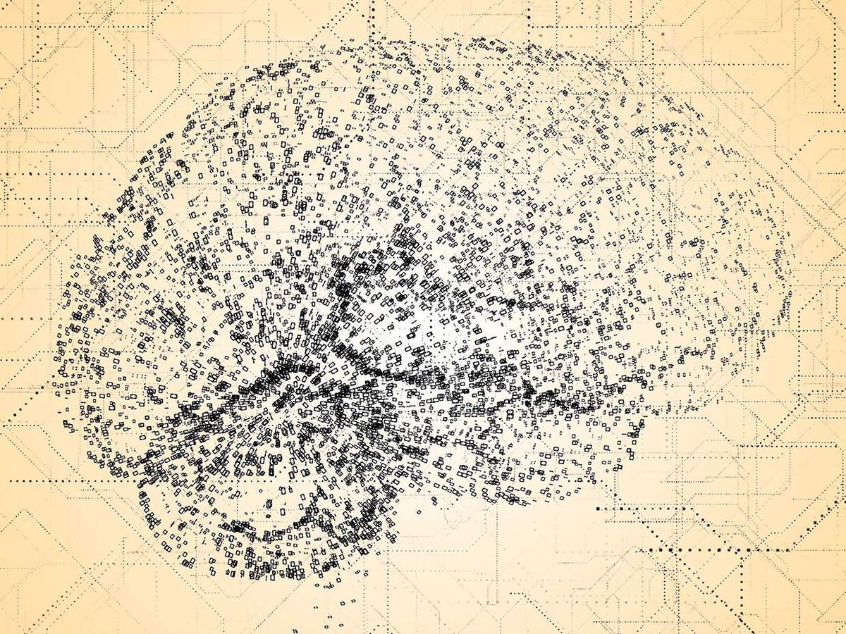 Illustration of a brain formed with 0s and 1s with a blueprint-like background