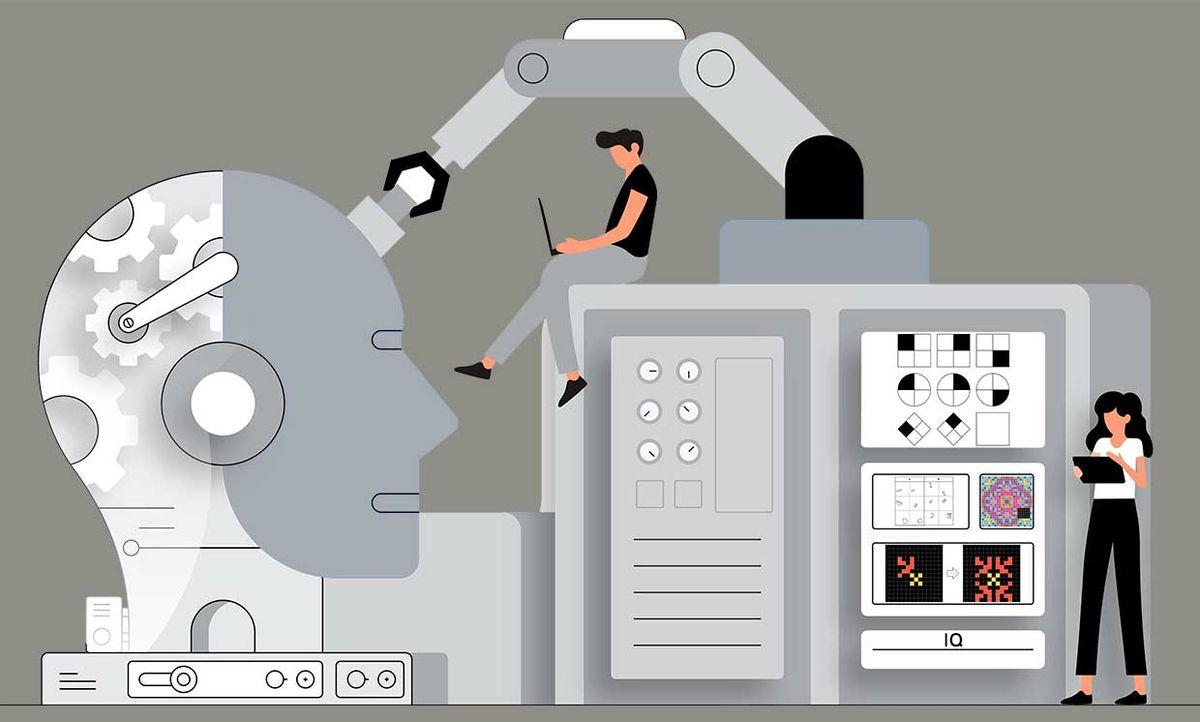 Illustration of an AI machine taking IQ tests