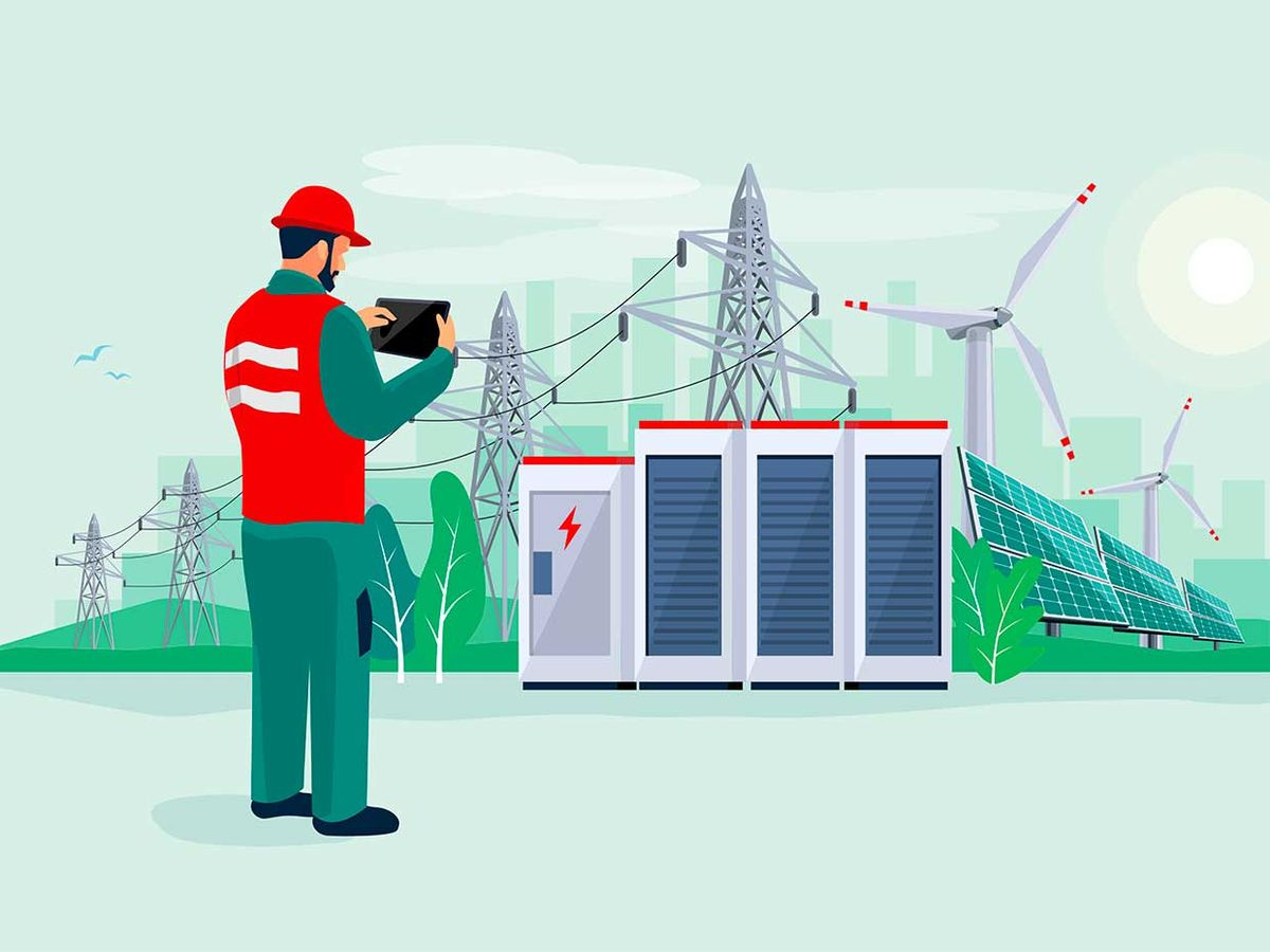 Illustration of an engineer doing diagnostics related to electricity, power supply and the grid.