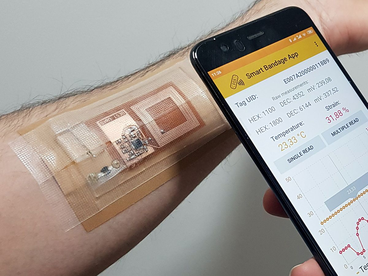 Photo of a smart bandage and the associated app.
