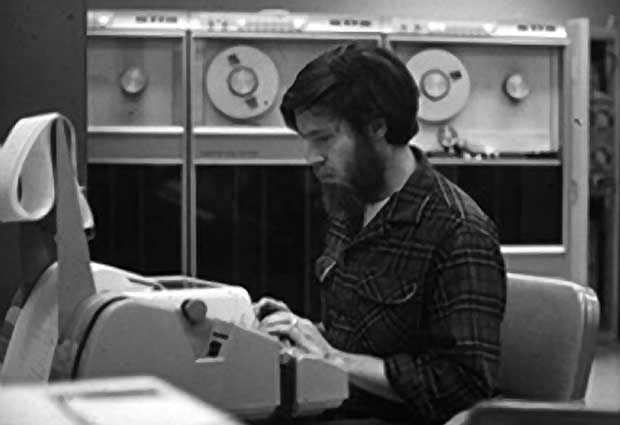 Bill Duvall, SRI computer room. Late 1960s