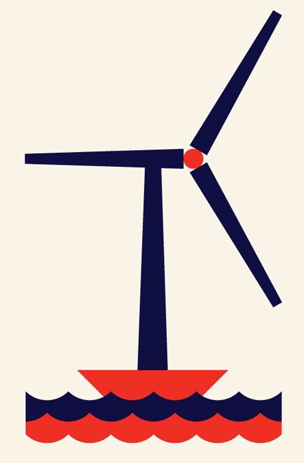 illustration of a windmill on water