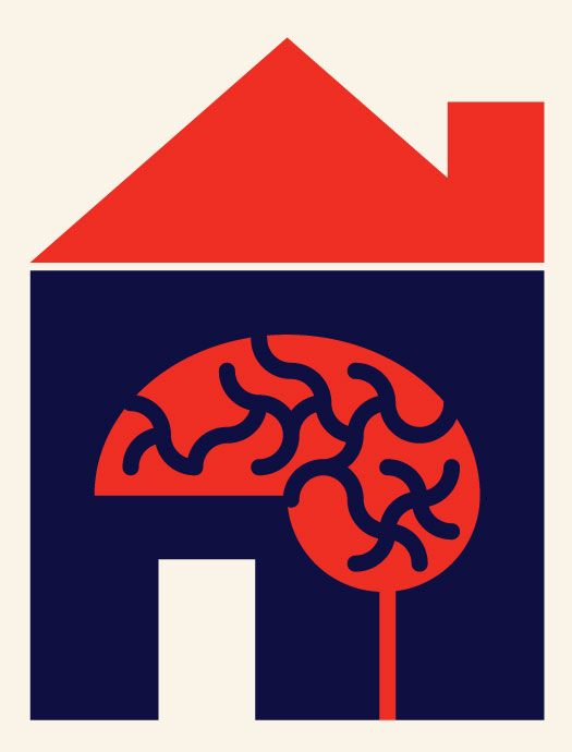 illustration of a brain in a house