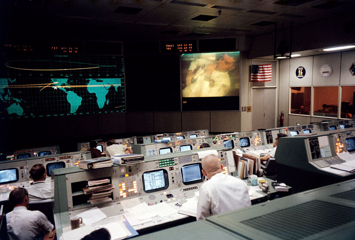 Photo of Mission control.