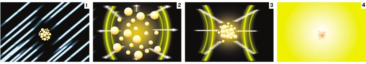 graphic illustration in four parts showing flask action.