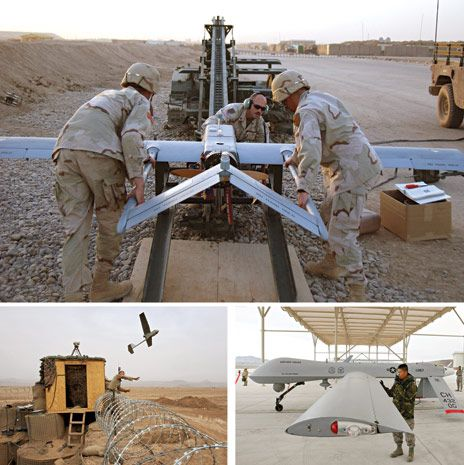 Sky Eyes: U.S. Army operators in Iraq prepare a Shadow for catapault launch [top]; a soldier heaves a Raven into the air from the perimeter of a U.S. Marine base in Afghanistan [bottom left]; and an airman at Creech Air Force Base checks over a Predator before flight [bottom right].