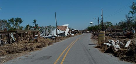 Hurricane Katrina didn't leave much of Delacroix, La., intact.