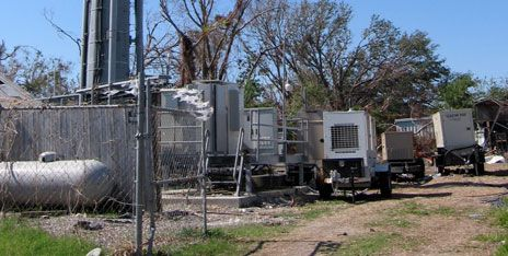 Multiple portable generators powered various base stations sharing a cell tower in Louisiana after Katrina. Each generator needed to be refueled about every 24 to 48 hours.