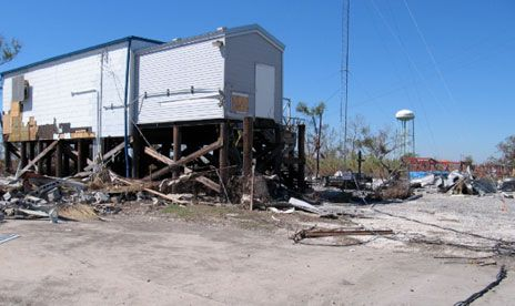 The central office building in Yscloskey, La., was destroyed by Katrina and wasn't rebuilt.