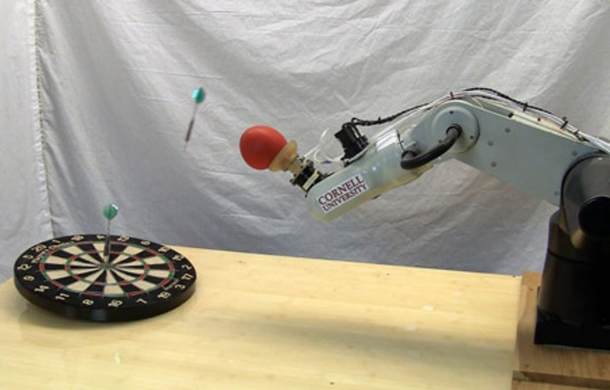 Jamming Robot Gripper Learns to Throw Stuff, Humans Surrender