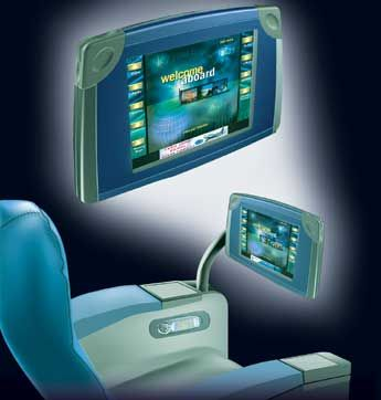 artist's rendering of the new iSeries of inflight entertainment systems from Thales Avionics