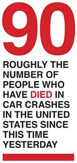 graphic info box on number of people who died in car crashes in US since this time yesterday