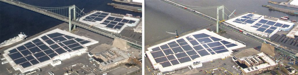 before and after shots of solar panels along river side
